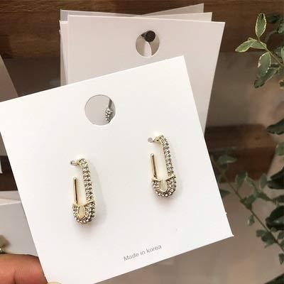HDBB Einzigartige Paperclip Sicherheitsnadel Stern voller Mikro pflastern Cz funken Bling einzigartige Neue Ohrring Dame Ohrring Schmuck (Metal Color : Gold)