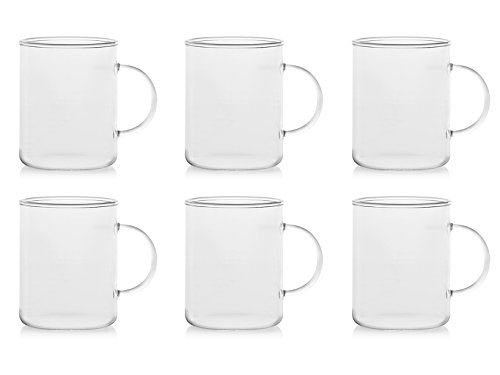 H&H Set 6 Tazze Mug, Vetro Borosilicato, Trasparente, 400 ml