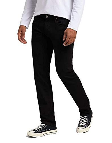 Lee Herren Jeans Daren Zip Fly - Regular Fit - Schwarz - Clean Black W28-W44 99% Baumwolle Stretchjeans Denim, Größe:42W / 32L, Farbvariante:Clean Black (L707HFAE)