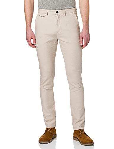 Springfield Chino Lino Estructura Bicolor Pantalones, Beige, 44