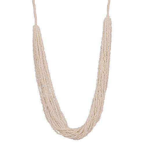 Touchstone - Collar de 20 hebras de joyería exclusiva de estilo indio Bollywood Desire hecho a mano con un aspecto encantador, color blanco estrellado, diseño exclusivo de 20 hebras, para mujer.