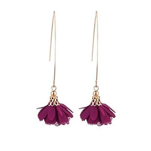 U-M PULABO Orecchini lunghi pendenti a forma di fiore, orecchini pendenti per feste di matrimonio, banchetto, gioielli vintage da donna, viola di qualità superiore e creativo