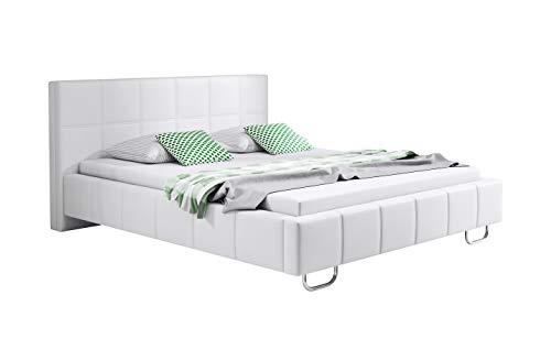 muebles bonitos Cama de Matrimonio Moderna Sofia con somier de láminas para colchón de 160x200cm Blanco diseño Italiano Elegante