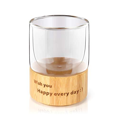 Glas-Kaffeetasse, 200 ml, doppelwandig, isoliert, Espressotasse, Milchbecher, Teetassen, tolles Geschenk für Familie und Freunde.