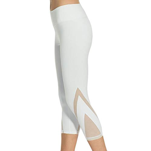 Cinnamou Legging de Sport Pantacourt Femme avec Poches Pantalon Yoga Collant Capri Fitness Gym Courts de Sport Skinny
