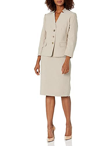 Le Suit Women's Crossdye 3 Button 3/4 Sleeve Jacket with BESOM Flaps & Basic Skirt, Soft Taupe Combo, 16