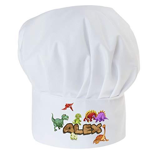 Gorro Cocinero para niños de niño Bebé de Cocina ajustable con velcro Gorro de Chef con nombre/con texto Dinosaurio con nombre [099]