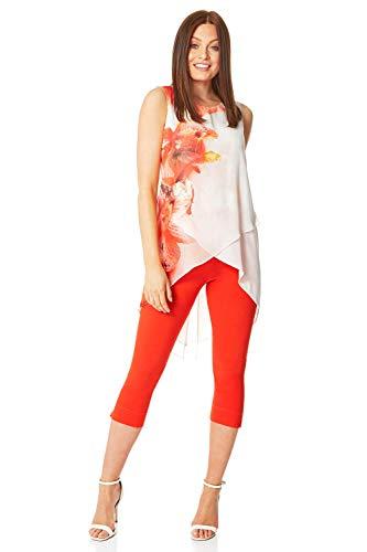 Roman Originals Camiseta de tirantes asimétrica para mujer con estampado de flores, estilo informal, para uso diario, primavera, verano, vacaciones, crucero, flores rojo y blanco 40