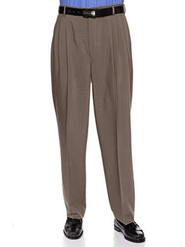 RGM Mens Dacron Rayon Pleated Front Dress Pants Taupe 46 Long