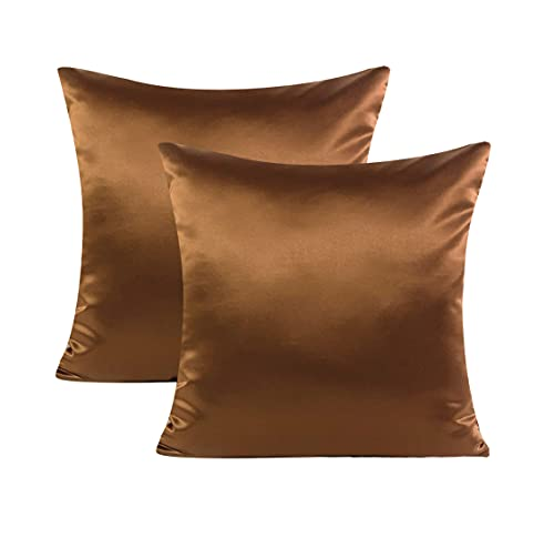 Craftbot Satin Pillows Covers 18x18 inches in Brown Set of 2 19 Colors Available Without Filler