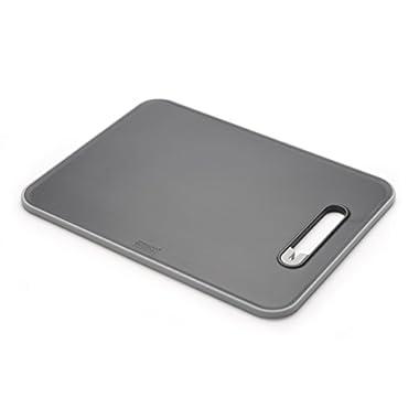 Joseph Joseph 60028 Slice & Sharpen Cutting Board with Integrated Knife Sharpener, Large, Black