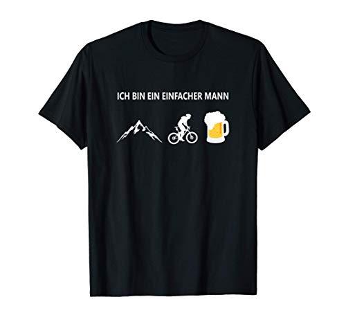 Herren Ich bin ein einfacher Mann T.Shirt Fahrrad Berge Bier T-Shirt