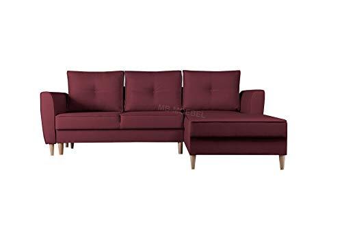 mb-moebel Ecksofa mit Schlaffunktion Eckcouch mit Zwei Bettkasten Sofa Couch Wohnlandschaft L-Form Polsterecke Theo (Malmo 63, Ecksofa Rechts)