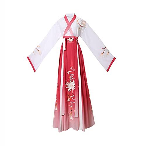 YANLINA Hanfu Cosplay Hanfu Traje Tradicional Chino Para Mujeres Falda Festival Outfit Fairy Para Stage Show Cosplay Disfraz De Halloween (Color : Red, Tamaño : XL)