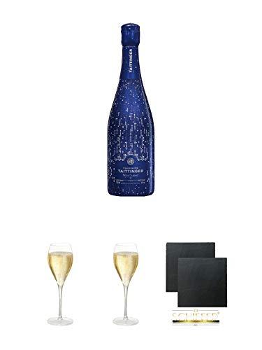 Taittinger Nocturne - BLANC - Sec City Lights Champagner 1,50 Liter Magnum + Taittinger Champagner Glas + Taittinger Champagner Glas + Schiefer Glasuntersetzer eckig ca. 9,5 cm Ø 2 Stück
