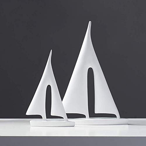 YUEZPKF Clean and tidy Desk Decoration For Living Room Home Furnishing Decor Office Ornaments,Resin Ship Figurines,Modern Simple Sculptures Sailboat Model Statues White 2 piece
