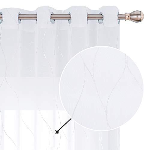Deconovo Silberfolie bedruckt Wellenmuster halbtransparente Vorhänge mit Ösen, Leinenoptik, Voile, dekorative Vorhänge für Glasschiebetüren, 132 x 244 cm (B x L), Weiß, 2 Stück