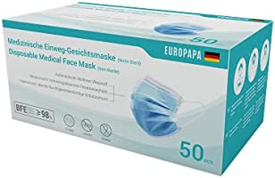 EUROPAPA 50x medizinische OP Maske 3-lagig Atemschutzmasken Typ IIR TÜV CE zertifiziert Chirurgische Einwegmaske Mund und...