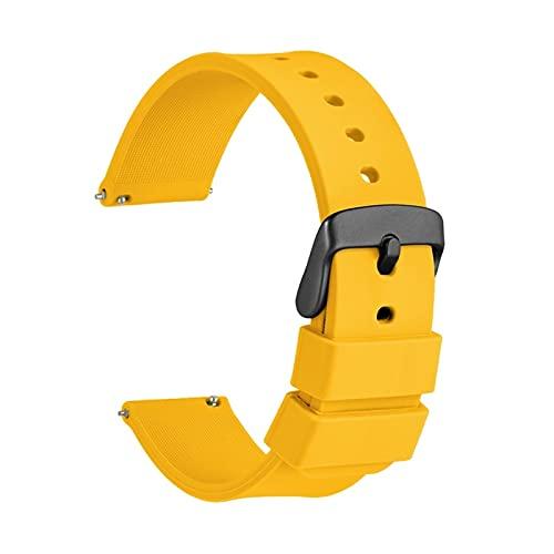 ZXC Reloj de Reloj 14 mm 18 mm 20 mm 22 mm 24 mm Silicone Sport Reloj Correa Hombres Mujeres Pretendero Banda de Goma Pulsera de Goma Hebilla Inoxidable (Band Color : Yellow, Band Width : 21mm)