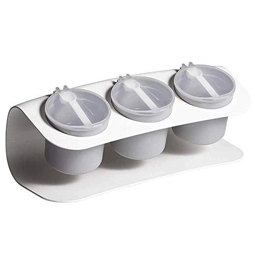 LXM Caja de almacenamiento para botellas de condimentos con cuchara, para condimentos, suministros de cocina y materiales para salar (color: gris) (color: blanco)