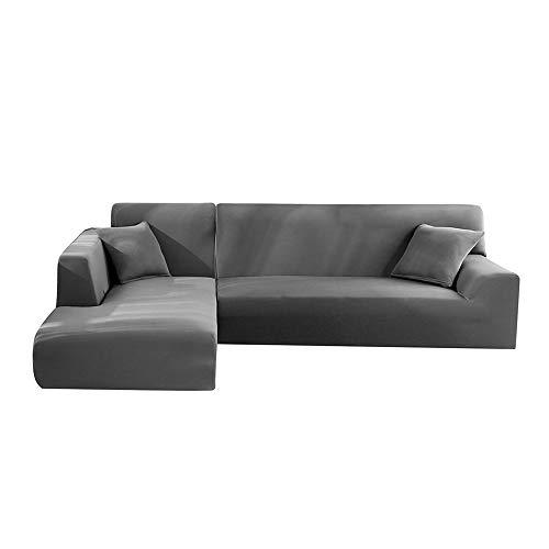 Willkey - Copridivano ad angolo, estensibile, con 2 federe, protezione per divano a L, antiscivolo, grigio, 3 Places + 2 Places