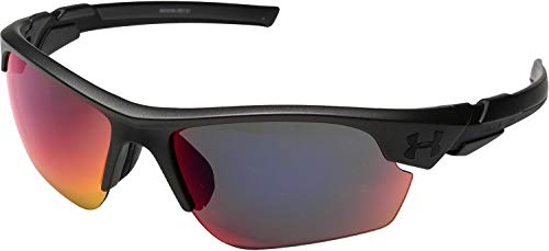 Under Armour Kids' Windup Sunglasses Wrap, Satin Carbon/Gray with Infrared Mirror, YOUTH