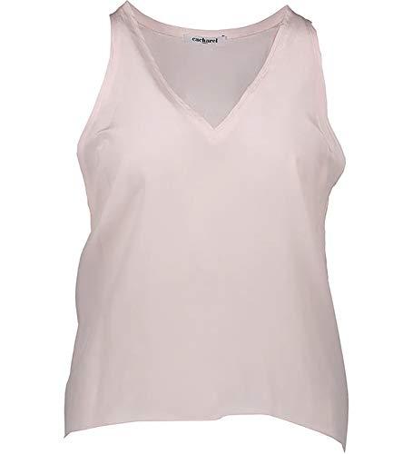 Cacharel Seiden-Top modisches Damen Sommer-Shirt mit weitem Armausschnitt Freizeit-Shirt Mode-Shirt Rosa, Größe:38