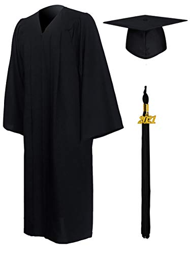 GraduationMall Abschluss Talar Doktorhut und Quaste 2021 für Hochschule und Bachelor Akademischer Talar mit Hut Schwarz 51(166cm - 172cm)