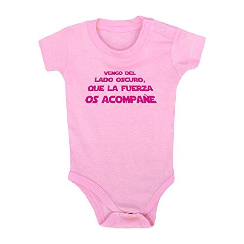 ClickInk Body bebé Lado oscuro. Regalo bebé. Regalos para bebés. Regalo divertido. Regalo original. Body bebé friki. Manga corta. (Rosa, 12 meses)