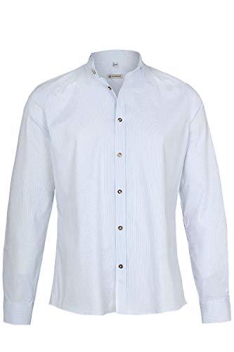 Gottseidank Herren Trachtenhemd Slim gestreift hellblau, Iceblue, XL