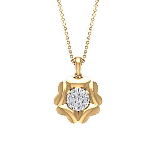 Herzförmige 1/4 CT zertifizierte Diamant Cluster Blume Anhänger, 14k Gold Mix Metall Braut Hochzeit Statement Halskette, Antik Frauen Charm Blumen-Anhänger, 14K Gelbes Gold Mit Kette