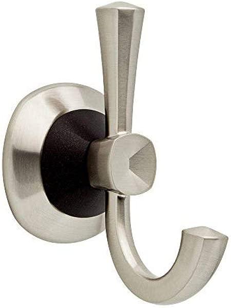 Delta DZUR35 SBR Zurie Collection Bath Hardware Accessory Double Robe Hook Satin Nickel
