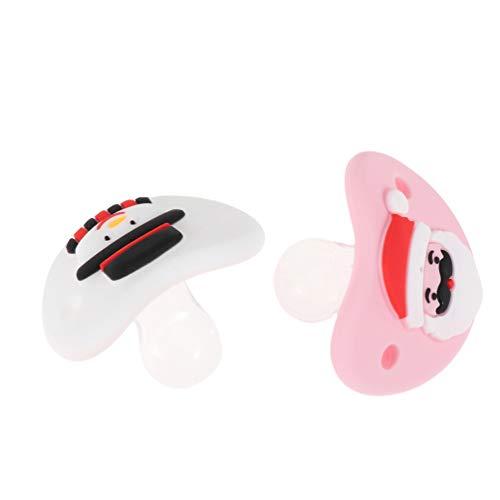 ABOOFAN Chupetes de Navidad de dibujos animados para bebés Ultra Soft Snuggle Chupete 0-6 meses (rojo rosa)
