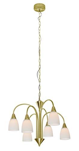 WOFI Deckenkrone, 6-flammig, Serie Casa, 6 x LED, 5 W, Durchmesser 50 cm, Abhängung 150 cm, Kelvin 2700, Lumen, messing matt 5453.06.32.0000