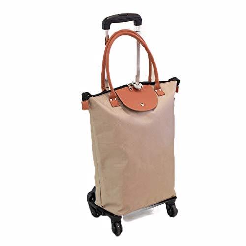 Cesto portaoggetti Rotella universale Trolley Car Shopping Bag Ultra Light impermeabile di grande capienza Shopping Bag Shopping Bag Casa staccabile Trolley Car Cestino portaoggetti ( Color : Brown )