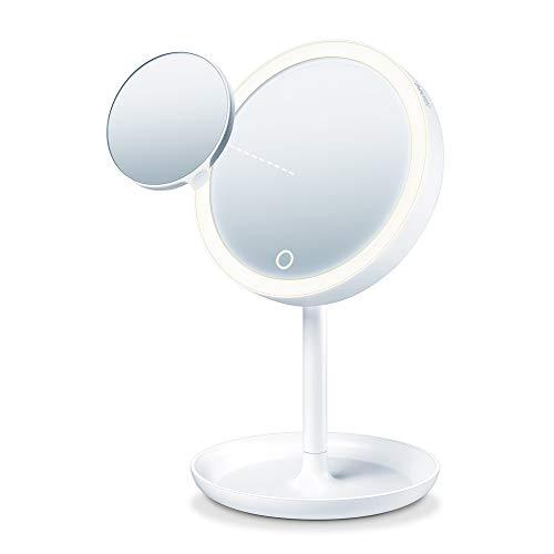 Beurer BS 45 cosmeticaspiegel met ledverlichting, aanraaksensor, magnetische extra spiegel met 5x vergroting, dimfunctie