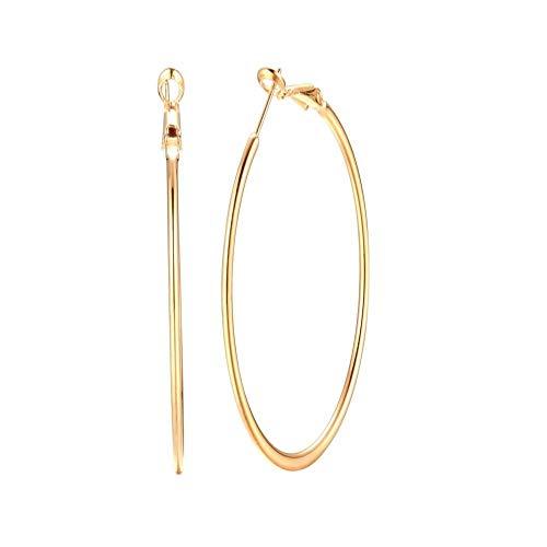 Pendientes de aro grandes de 90 mm chapados en oro amarillo de 14 quilates, para mujeres, niñas, orejas sensibles, de acero inoxidable, con forma de círculo, hipoalergénicos, regalos de joyería
