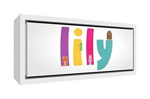 Little Helper doek met frame van massief hout wit illustratieve stijl bont met de naam Meisjesnaam Lily 19 x 46 x 3 cm kleine