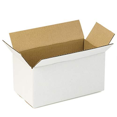 RUSPEPA Scatole Di Spedizione Scatole Ondulate Scatole Riciclabili Per Piccole Spedizioni - 20,5 X 10,2 X 10,2 cm - Confezione Da 25 - Bianco