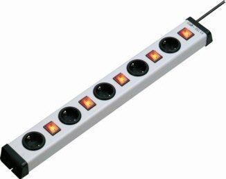 Steckdosenleiste 5+5fach   5 x einzeln schaltbar   mit beleuchteten 2poligen Schaltern