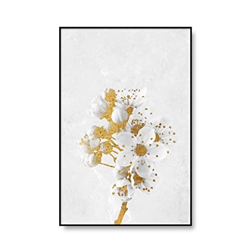 KUANGWENC Póster De Pared De Flor De Loto De Lirio Dorado Blanco, Impresión Floral Botánica Nórdica, Lienzo Escandinavo, Pintura, Decoración Artística, 50X75Cm Sin Marco