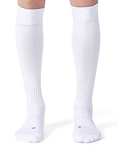 CelerSport 2 Pack Soccer Socks for Youth Kids Adult Over-The-Calf Socks with Cushion, White (2 Pack), Medium