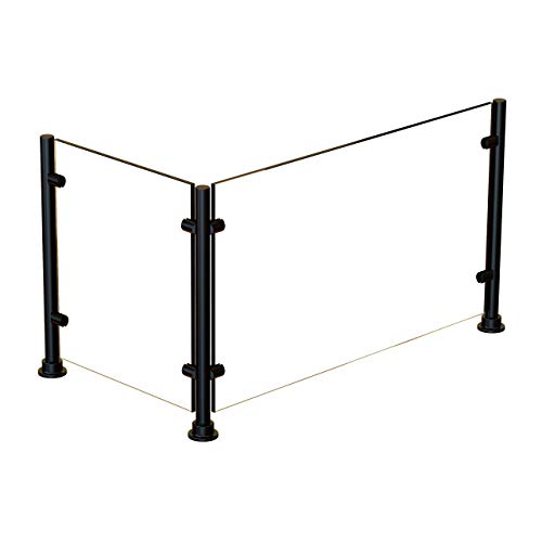ADM Sneezeguard   EP-5   Black Finish   Vertical Divider Posts   Display Sneeze Guard   Booth Partition Hardware   Includes Posts   Options: Glass Face and End Panels   (44' w/ 1 End Panel, 26' Tall)