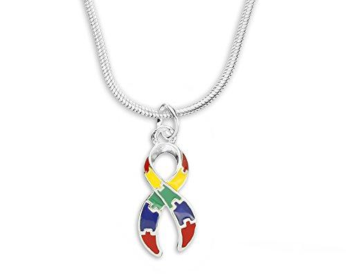 Fundraising For A Cause   Bulk Autism Ribbon Charm Necklaces – Autism Awareness Puzzle Piece Ribbon Pendant Necklaces & Jewelry for Fundraising and Gift-Giving Multicolor