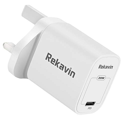 Rekavin 20W USB C Plug Fast Charge,Phone 12 USB-C Power Adapter Fast Charging for iPhone 12 Pro Max 11 X XR XS 8 SE 2020 iPad Samsung S20 Huawei P40 P30,Power Delivery 3.0 Type C PD Wall Charger UK