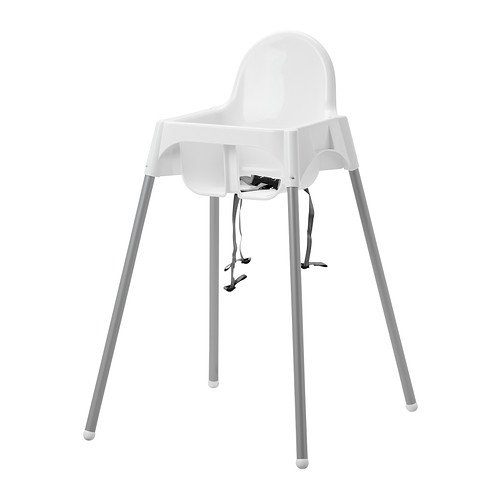 Hochstuhl mit Sicherheitsgurt, weiß, silberfarben (IKEA)