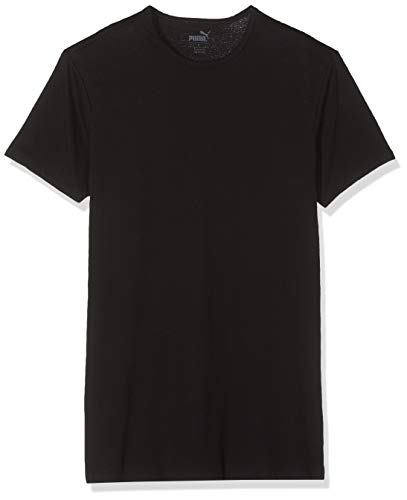 Puma 4 er Pack Basic Crew T-Shirt Men Herren Unterhemd Rundhals, Bekleidungsgröße:M, Farbe:200 - Black