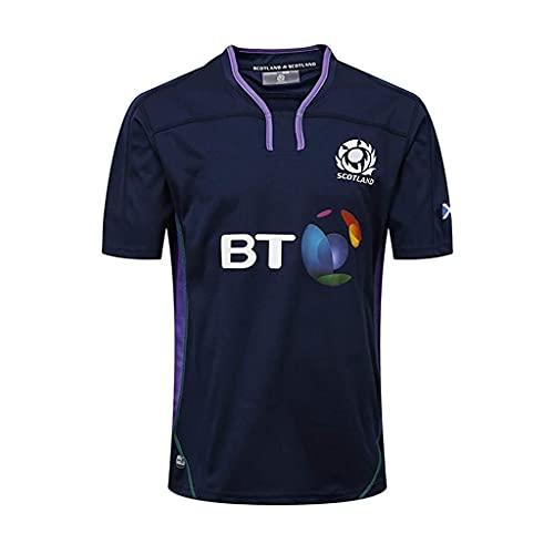 ZDVHM 2018-19 Escocia Home Rugby Jersey 100% Poliéster Tela Transpirable Deportes Entrenamiento Camiseta Uniforme de Rugby Camiseta de fútbol Camisa de fútbol para los fanáticos (Color : 1, Size : L)