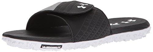 Under Armour Men's Fat Tire Slide, Black/Steel/White, 7 D(M) US