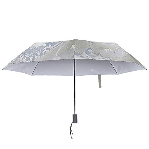 Paraguas con textura de mármol, automático, estilo moderno, resistente al viento y al agua, One Touch, blanco (Blanco) - Butterfly Goods-UBR-8